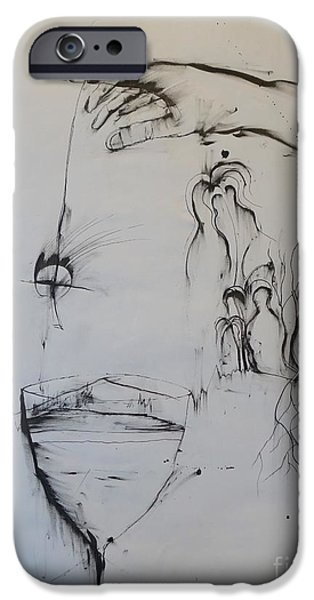 Mix Medium Drawings iPhone Cases - Untitled iPhone Case by Grant Flowers