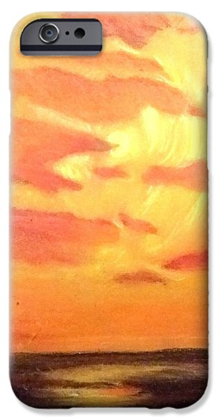Ocean Sunset Pastels iPhone Cases - Untitled Sun iPhone Case by Cynthia Cook