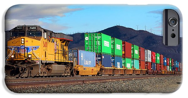 United iPhone Cases - UP 5400 Locomotive Tehachapi Southern California iPhone Case by Wernher Krutein