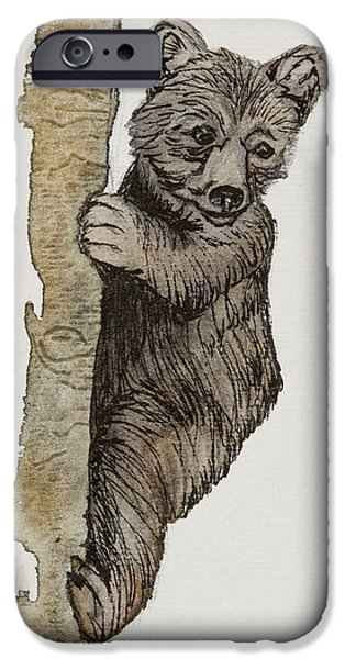 Pen And Ink iPhone Cases - Up A tree iPhone Case by Tracey Hunnewell