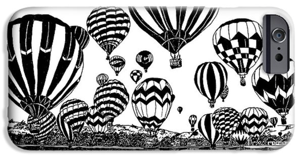 Hot Air Balloon Mixed Media iPhone Cases - Up In The Air iPhone Case by Vicki  Housel