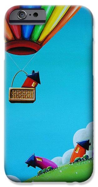 Whimsy Paintings iPhone Cases - Up Up and Away iPhone Case by Cindy Thornton