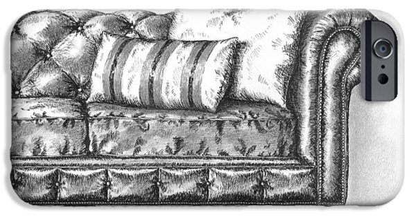 Furniture Drawings iPhone Cases - Upholstered iPhone Case by Adam Zebediah Joseph