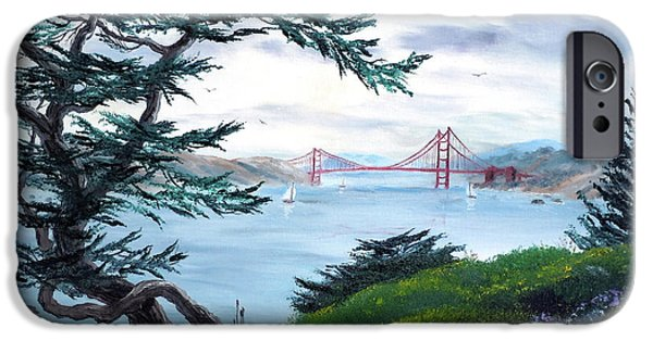 Cypress Trees iPhone Cases - Upon Seeing the Golden Gate iPhone Case by Laura Iverson