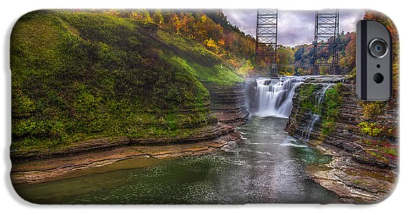 Leaf Change iPhone Cases - Upper Falls in Fall iPhone Case by Mark Papke
