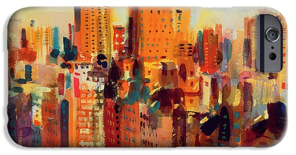 City Scenes Paintings iPhone Cases - Upper Manhattan iPhone Case by Peter Graham