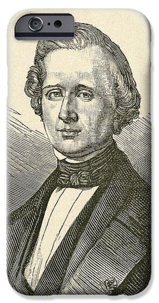 Mechanics Drawings iPhone Cases - Urbain Jean Joseph Le Verrier, 1811 iPhone Case by Vintage Design Pics