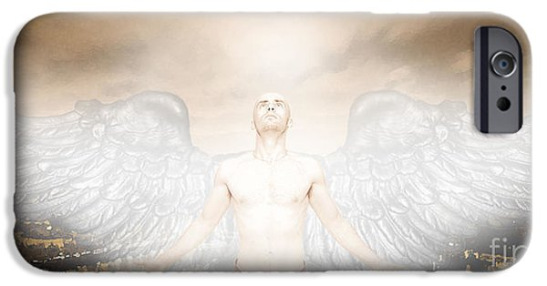 Angel Blues iPhone Cases - Urban Angel iPhone Case by Carrie Jackson