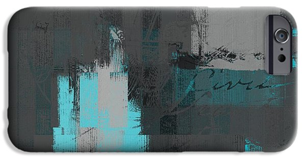 Contemporary Abstract iPhone Cases - Urban Artan - s0111-turquoise iPhone Case by Variance Collections