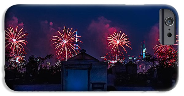 4th July Digital iPhone Cases - Urban Fireworks in New York City iPhone Case by Andy Fuentes