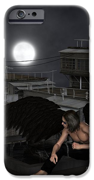 Night Angel iPhone Cases - Urban Guardian Angel - Crouching iPhone Case by Fairy Fantasies