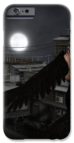 Night Angel iPhone Cases - Urban Guardian Angel - Standing iPhone Case by Fairy Fantasies