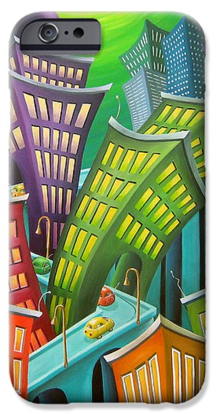 Whimsy Paintings iPhone Cases - Urban Vertigo iPhone Case by Eva Folks