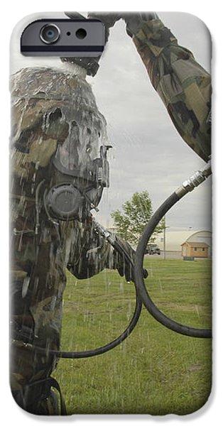 U.s. Air Force Soldier Decontaminates iPhone Case by Stocktrek Images