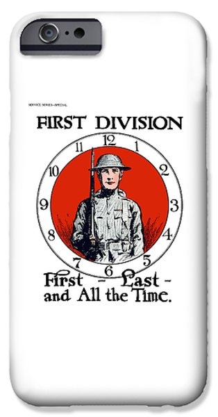 Wwi iPhone Cases - US Army First Division - WW1 iPhone Case by War Is Hell Store