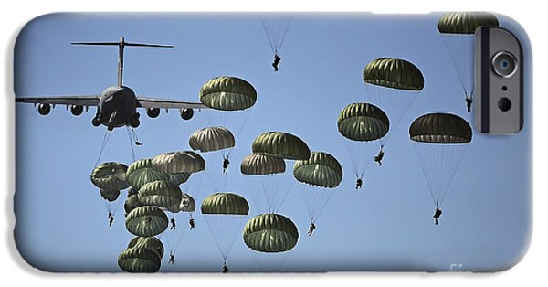 Color Image iPhone Cases - U.s. Army Paratroopers Jumping iPhone Case by Stocktrek Images