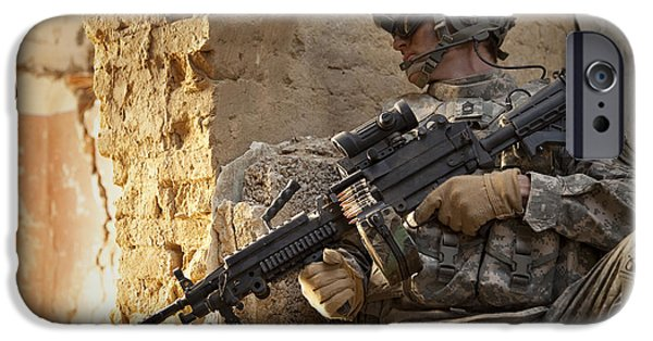 Afghanistan iPhone Cases - U.s. Army Ranger In Afghanistan Combat iPhone Case by Tom Weber