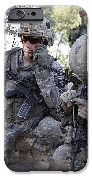 U.s. Army Soldier Radios In His Teams iPhone Case by Stocktrek Images