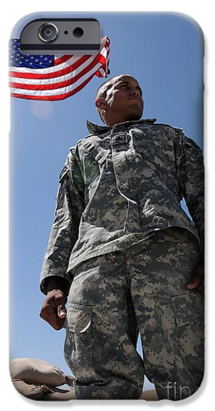 Afghanistan iPhone Cases - U.s. Army Soldier Taking In The Sun iPhone Case by Stocktrek Images