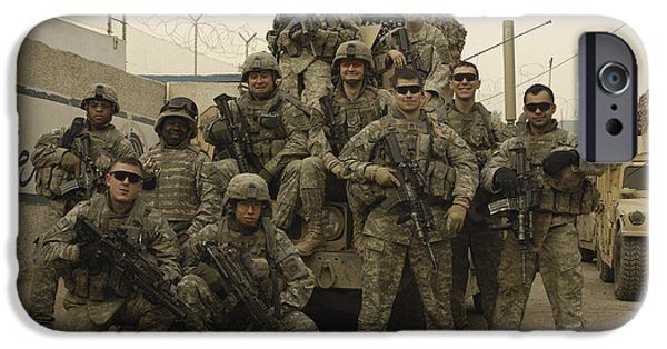 Baghdad iPhone Cases - U.s. Army Soldiers Pose For A Photo iPhone Case by Stocktrek Images