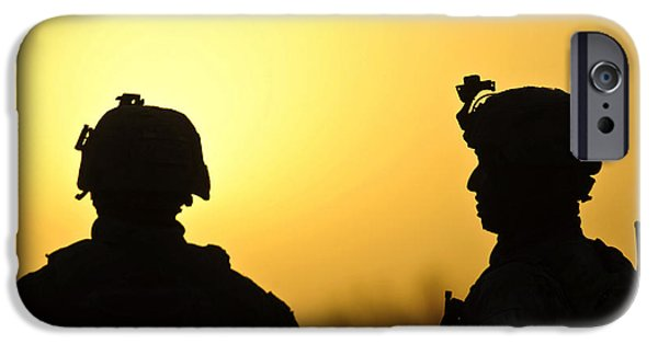 Afghanistan iPhone Cases - U.s. Army Soldiers Silhouetted iPhone Case by Stocktrek Images