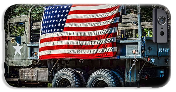 4th July Photographs iPhone Cases - US Army Truck Patriotism iPhone Case by Black Brook Photography