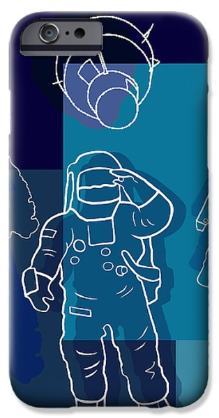 Flag iPhone Cases - US Astronauts iPhone Case by Bedros Awak
