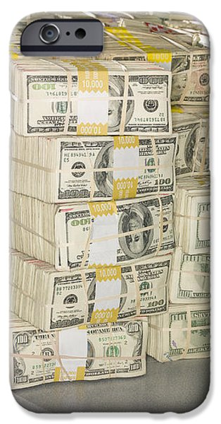 US Bills in Bundles iPhone Case by Adam Crowley