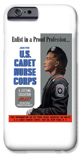 Political Mixed Media iPhone Cases - US Cadet Nurse Corps iPhone Case by War Is Hell Store