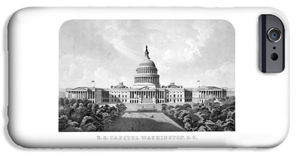 Buildings Mixed Media iPhone Cases - US Capitol Building - Washington DC iPhone Case by War Is Hell Store