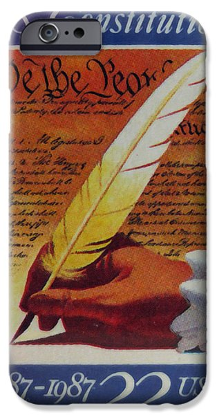 Constitution Paintings iPhone Cases - US Constitution iPhone Case by Lanjee Chee