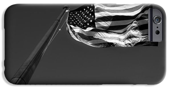 Old Glory iPhone Cases - U.S. Flag in Black and White iPhone Case by Greg Mimbs