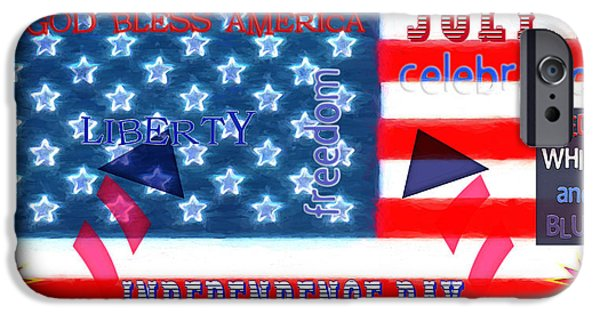 4th July Mixed Media iPhone Cases - U.S. Flag - July 4th Graphic iPhone Case by Steve Ohlsen
