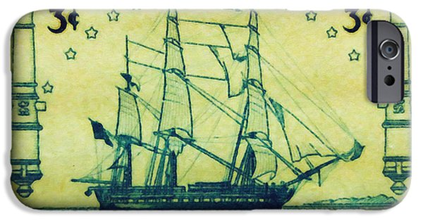Constitution iPhone Cases - US Frigate Constitution iPhone Case by Lanjee Chee