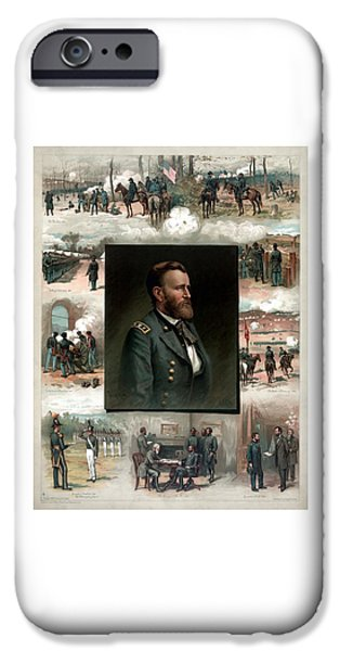 History Mixed Media iPhone Cases - US Grants Career In Pictures iPhone Case by War Is Hell Store