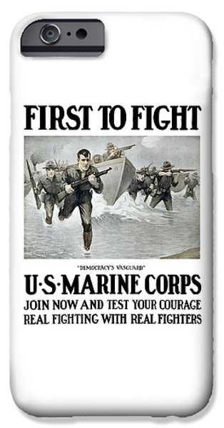 Combat iPhone Cases - US Marine Corps - First To Fight  iPhone Case by War Is Hell Store