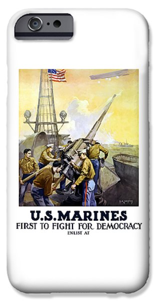 Marine iPhone Cases - US Marines -- First To Fight For Democracy iPhone Case by War Is Hell Store