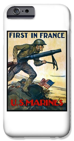 Marine iPhone Cases - US Marines - First In France iPhone Case by War Is Hell Store