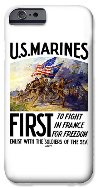 Marine iPhone Cases - US Marines - First To Fight In France iPhone Case by War Is Hell Store
