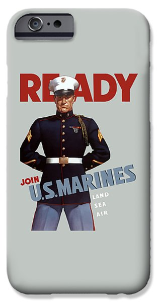 World Wars iPhone Cases - US Marines - Ready iPhone Case by War Is Hell Store