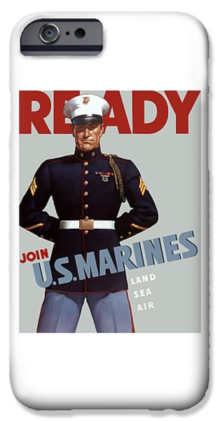 History Mixed Media iPhone Cases - US Marines Ready iPhone Case by War Is Hell Store