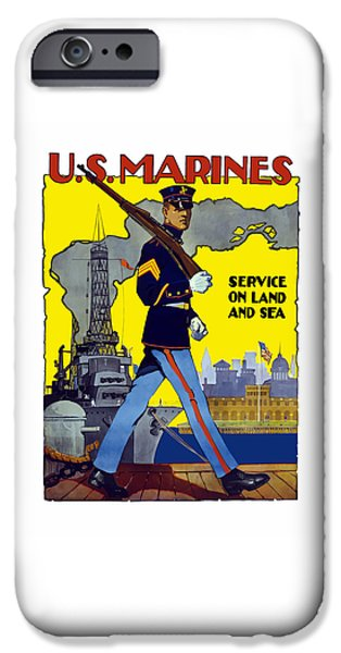 History Mixed Media iPhone Cases - U.S. Marines - Service On Land And Sea iPhone Case by War Is Hell Store