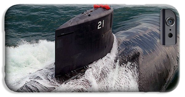 Con iPhone Cases - U.s. Navy Attack Submarine Uss Seawolf iPhone Case by Stocktrek Images
