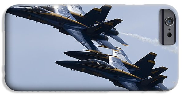 F-18 iPhone Cases - US Navy Blue Angels In Formation iPhone Case by Dustin K Ryan