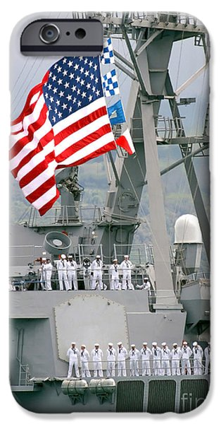 Recently Sold -  - Patriotism iPhone Cases - U.s. Navy Sailors Line The Rails Aboard iPhone Case by Stocktrek Images