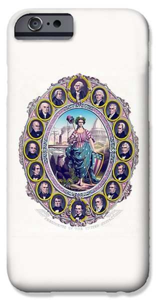 Politician iPhone Cases - US Presidents and Lady Liberty  iPhone Case by War Is Hell Store