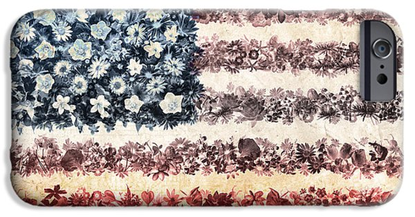 4th July iPhone Cases - Usa flag floral 3 iPhone Case by MB Art factory