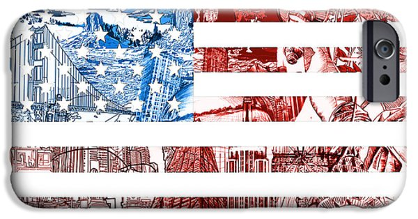 4th Of July iPhone Cases - USA flag iPhone Case by MB Art factory