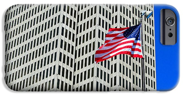 Alcatraz iPhone Cases - USA flag on union square iPhone Case by Tina M Wenger