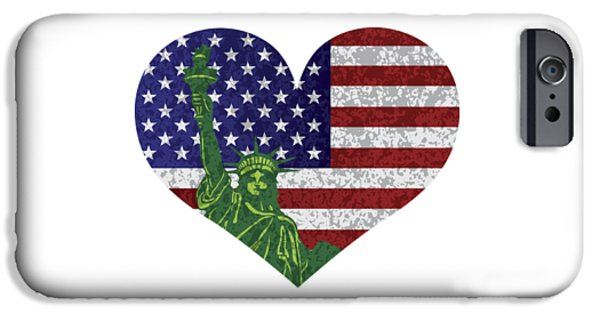 Fourth Of July iPhone Cases - USA Heart Flag and Statue of Liberty iPhone Case by Jit Lim